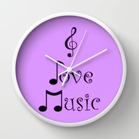 I Love Music - Pop Purple Wall Clock by Moonshine Paradise