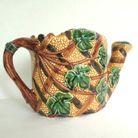 Vintage Majolica Watering Can 1980s Ivy On Vine Centerpiece Garden Party Florist Supply