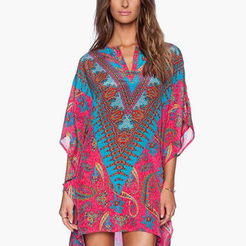 Pink Vintage Print with Low V-Cut Tunic Dress
