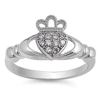Sterling Silver Irish Engagement Claddagh Cubic Zirconia Ring