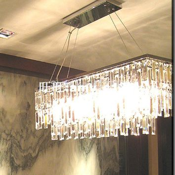 Modern Rectangle K9 Crystal Chandelier Home Decorative Lustre Crystal Pendant Chandelier Lamp Restaurant Light Fixture Luminiare