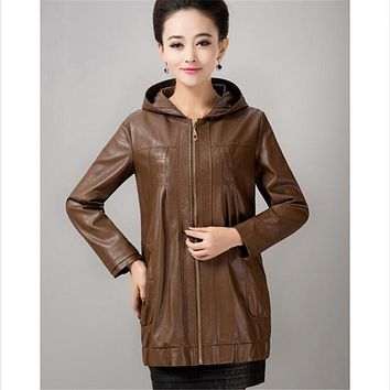 women's clothing new casual jackets leather women loose plus size leather coat female high quality outerwear fashion coats hood