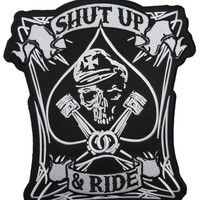"SHUT UP & RIDE Outlaw Biker Big Embroidered Back Patch 11.5""/29cm"