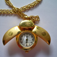 Ladybug Watch Locket Necklace  Vintage  Gold by eclecticnesting