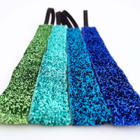 "3/4"" Blue Sparkle 4 Pack Non-Slip Headbands"