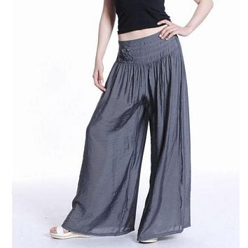 Free shipping Hot! new arrival women's mercerized cotton bell bottom wide leg pants culottes plus size casual long trousers