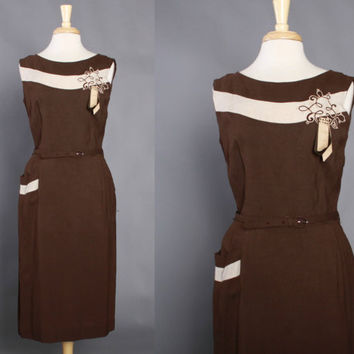 50s Brown Toni Todd Linen Day DRESS / Two Tone Late 1950s Sheath Dress with Soutache Applique & Studded Ribbon Detail, m