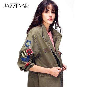 JAZZEVAR Autumn Fashion Women's Embroidery Rivet Casual Long jacket Army Green Appliques Outerwear Vintage Washed Loose Clothing