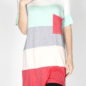 Multi Color Block Round Neck Short Sleeve Jersey Tunic Tee Shirt Top