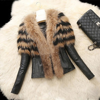 Fashion Women Lady Winter Faux Leather Fur Luxury Jacket Warm Coat Outwear Parka = 1931440452