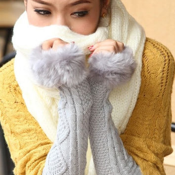 Lady Winter Wrist Arm Warmer Faux Rabbit Fur Knit Knitted Fingerless Long Gloves = 1932975172