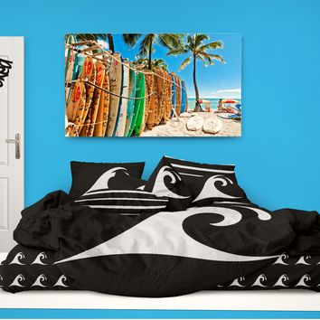 Black Epic Wave Comforter from Surfer Bedding