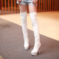 Soft Leather Thigh High Boots Platform Pumps Stiletto Heel 4234