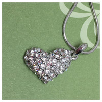 Beautiful Eye Catching Crystal Accented Heart Pendant Necklace