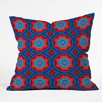 Elisabeth Fredriksson Red Sun Flowers Throw Pillow