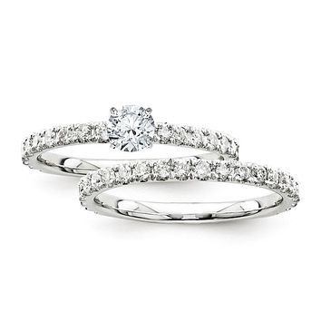 Certified 1.30 Ct. Round Diamond Bridal Engagement Ring Set with Side Stones in 14K White Gold