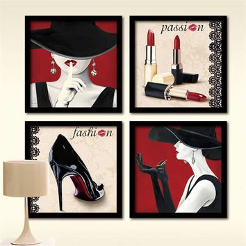 Clothing store fashion women red lipstick high heel canvas painting wall art pictures bedroom decoracion canvas home decor
