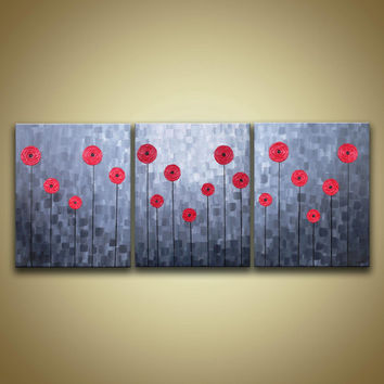 Red flowers in shades of gray original heavy textured impasto acrylic painting on gallery canvas- Modern contemporary Home wall decor art