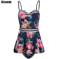Riseado 2017 Ruffle Tankini Set Floral Printed Swimwear Women Push Up Swimsuit Two-piece Swim Wear Bathing Suits Plus Size