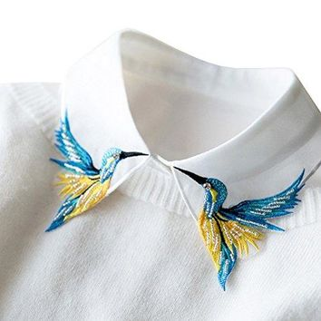 Shinywear Beads Embroidered False Shirt Collar Casual Detachable Lapel Retro British Dicky White One Size