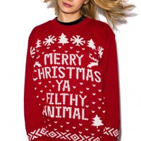 Cully 'Filthy Animal' Christmas Jumper in Red