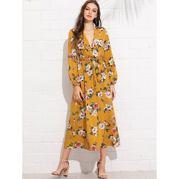 Lantern Sleeve Surplice Wrap Floral Dress Ginger