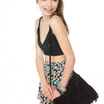 Brandy ♥ Melville |  Black Double Fringe Purse - Bags - Accessories
