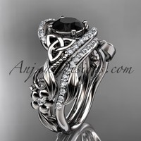 platinum diamond celtic trinity knot wedding ring, engagement set with a Black Diamond center stone CT7211S