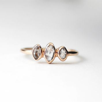 Rose Gold Herkimer Diamond Ring | Rose Gold Rings | Ring For Girlfriend | Stacking Rings | Rose Gold Engagement Ring | Ring With Stones