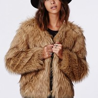 Missguided - Belle Faux Fur Cropped Jacket Brown