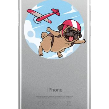 Pug iPhone 6 6s Case | Funny Skydiving Dog Cover | The Jazzy Panda