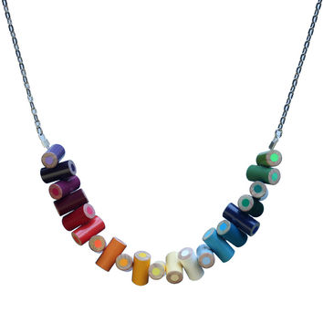Long colored pencil stacked necklace