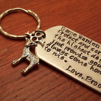 Hand stamped key chain-Game Warden key chain-Protect and serve-Game Warden Gift-Personalized Game Warden gift-Conservation officer gift