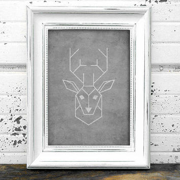 Geometric Stag Print  // Deer Print // Instant Download Geometric Stag Print // Modern Art // Deer Art // Geometric Art