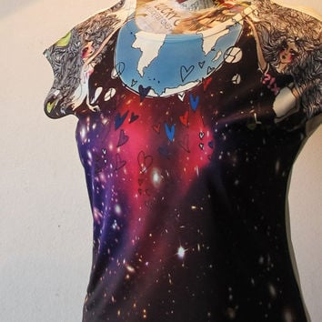 Space Galaxy World T Shirt Women T Shirt Universe galaxy white Shirt Tunic Top Vest Short Sleeve Women T-Shirt Size S M free size