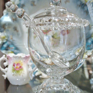 Imperial Candlewick Marmalade Footed Covered with Spoon Three Piece Set Glass Crystal Bridal Shower Wedding Garden Party Serving Condiment