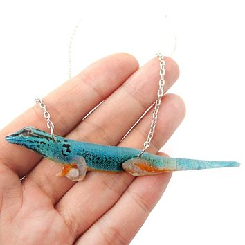 Realistic Gecko Lizard Animal Shaped Pendant Necklace in Turquoise Blue | Handmade