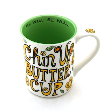 Large mug, Chin Up Buttercup, Encouragement motivation friendship inspirational gift, funny mug