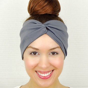 Twist Headband Women's Accessories Grey Turban Headband Grey Turban Head Wrap Women Turban Wide Headband Grey Headband Grey Yoga Headband