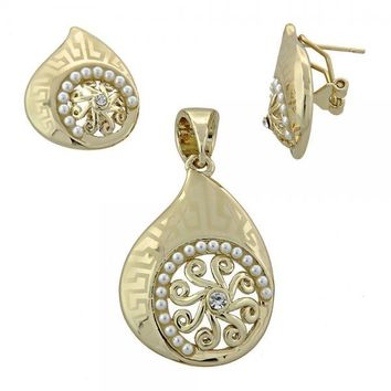 Gold Layered Earring and Pendant Adult Set, Greek Key Design, with Pearl and Crystal, Gold Tone