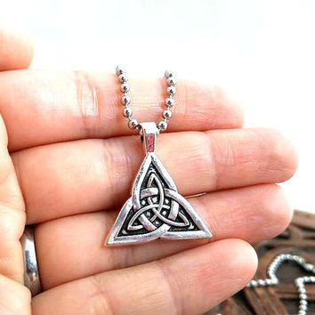 Silver Triquetra Necklace, Triquetra Knot, Celtic Necklace, Celtic Knot, Celtic Jewelry, Trinity Knot