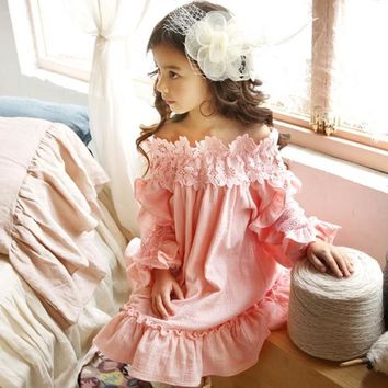 Girls Flower Neckline Off Shoulder Lace Party Dress Princess Pink Asymmetric Ruffles Spring Fall Holiday Dresses