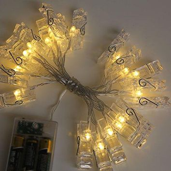 50 LED Photo Clip String Lights Home Decor Indoor/Outdoor, Battery Powered String Lights Lamp for Home/Party/Christmas Decoration Christmas Birthday Wedding Party Festival Decor (Warm White)