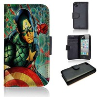 Captain America | wallet case | iPhone 4/4s 5 5s 5c 6 6+ case | samsung galaxy s3 s4 s5 s6 case |