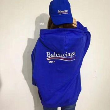 Balenciaga Fashhion Casual Long Sleeve Sport Loose Hooded Top Sweater Hoodie Sweatshirt