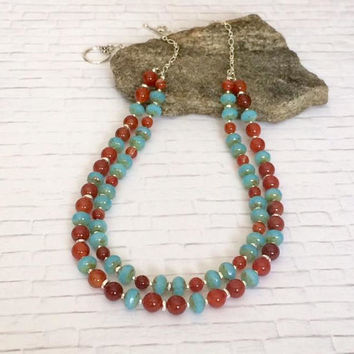 Red Agate Necklace Agate Bead Necklace Aqua Blue Czech Picasso Beads Red Gemstone Jewelry Multi Strand Bold Necklace Valentines Day Gift Her