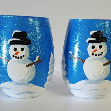 Snowman winter scene stemless wine glasses, snow, set of two wine glasses, hand painted, high quality wine glass, decorated wine glasses