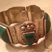 Vintage Mexican Bracelet Green Stone Silver Carved Jewelry Mexico