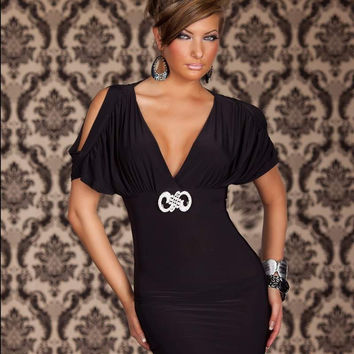 Black Short Sleeve Cut Out Deep V Neck Bodycon Mini Dress