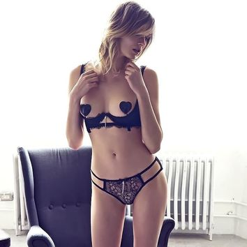 CYHWR Luxury Sexy Open Bow Lace Soild Pattern Lash Underwear Bra & Brief Set for Women+Breast Petals